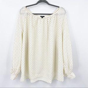 Talbots | Polka Dot texture long sleeve blouse